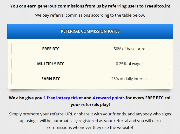 FreeBitco.in . Free Bitcoin _Referral Commission Rates