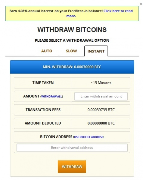 Freebitcoin - Withdraw Bitcoin INSTANT