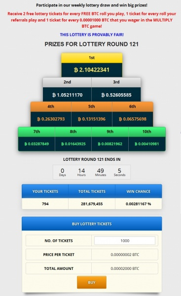 FreeBitco.in - Lottery