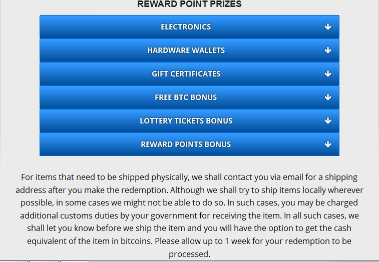 FreeBitco.in - Reward Point Prizes